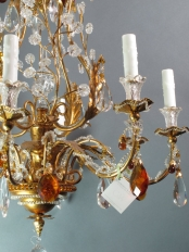 Baguese Style Chandelier with Amber Crystals
