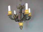 French Bronze 4-Light Candle Chandelier