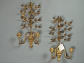 Pair of Italian Wood and Metal Sconces