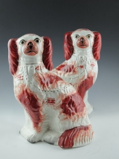 Pair of Staffordshire Red and White Dogs