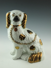 Pair Staffordshire Copper Luster Dogs