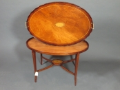 English wooden tray on stand