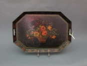 Tole Tray with Basket of Flowers