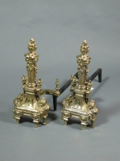 French Style Brass Andirons