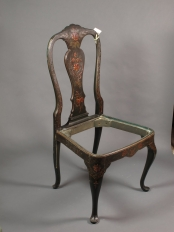 20th century ebony Queen Ann chair