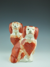 Rare Pair of Red and White Spaniels