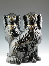 Pair of Staffordshire Jackfield Spaniels